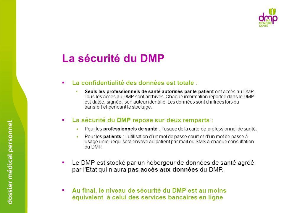 La sécurité du DMP Le DMP est stocké par un hébergeur de données de santé agréé par l'Etat qui n'aura pas accès aux données du DMP. La sécurité du DMP