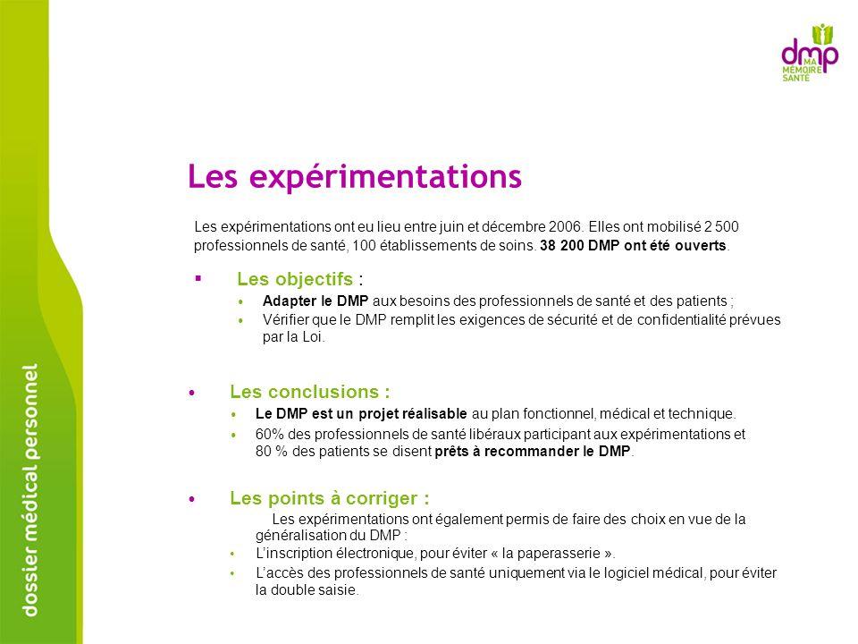 Les expérimentations Les expérimentations ont eu lieu entre juin et décembre 2006. Elles ont mobilisé 2 500 professionnels de santé, 100 établissement