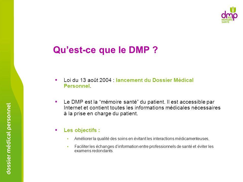 Quest-ce que le DMP ? Loi du 13 août 2004 : lancement du Dossier Médical Personnel. Le DMP est la mémoire santé du patient. Il est accessible par Inte