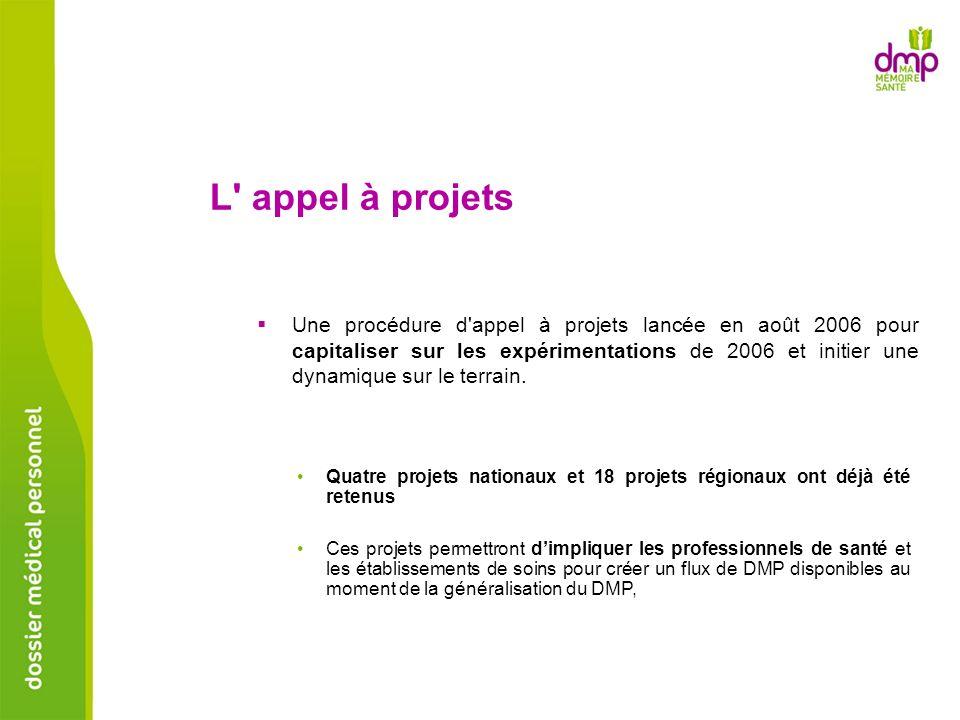 Une procédure d'appel à projets lancée en août 2006 pour capitaliser sur les expérimentations de 2006 et initier une dynamique sur le terrain. L' appe