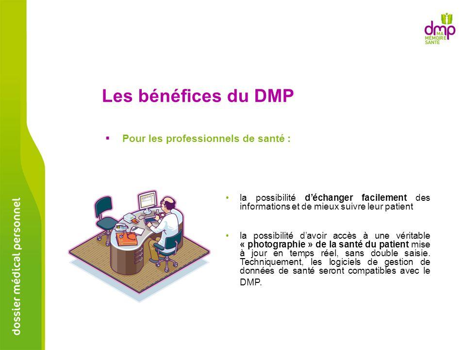 Les bénéfices du DMP Pour les professionnels de santé : la possibilité déchanger facilement des informations et de mieux suivre leur patient la possib