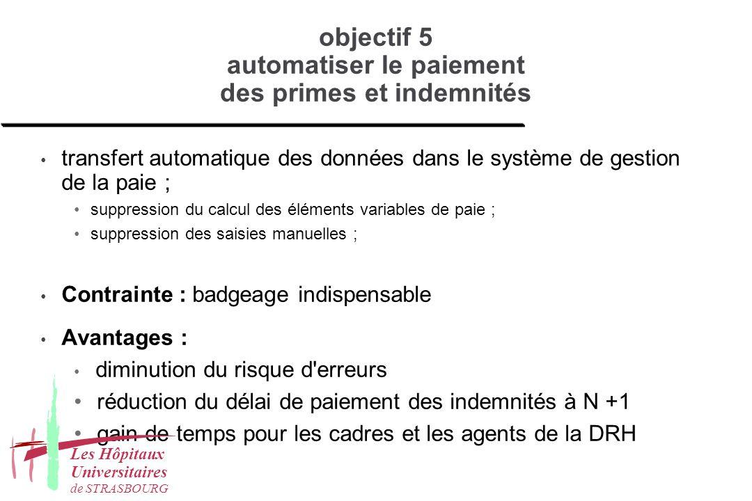 objectif 5 automatiser le paiement des primes et indemnités transfert automatique des données dans le système de gestion de la paie ; suppression du c
