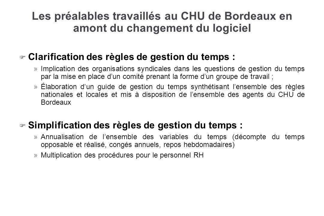 Les préalables travaillés au CHU de Bordeaux en amont du changement du logiciel F F Clarification des règles de gestion du temps : » »Implication des