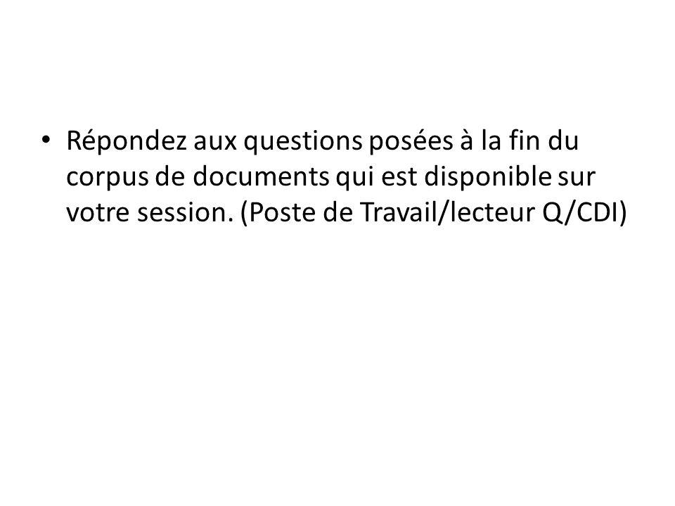 Répondez aux questions posées à la fin du corpus de documents qui est disponible sur votre session. (Poste de Travail/lecteur Q/CDI)