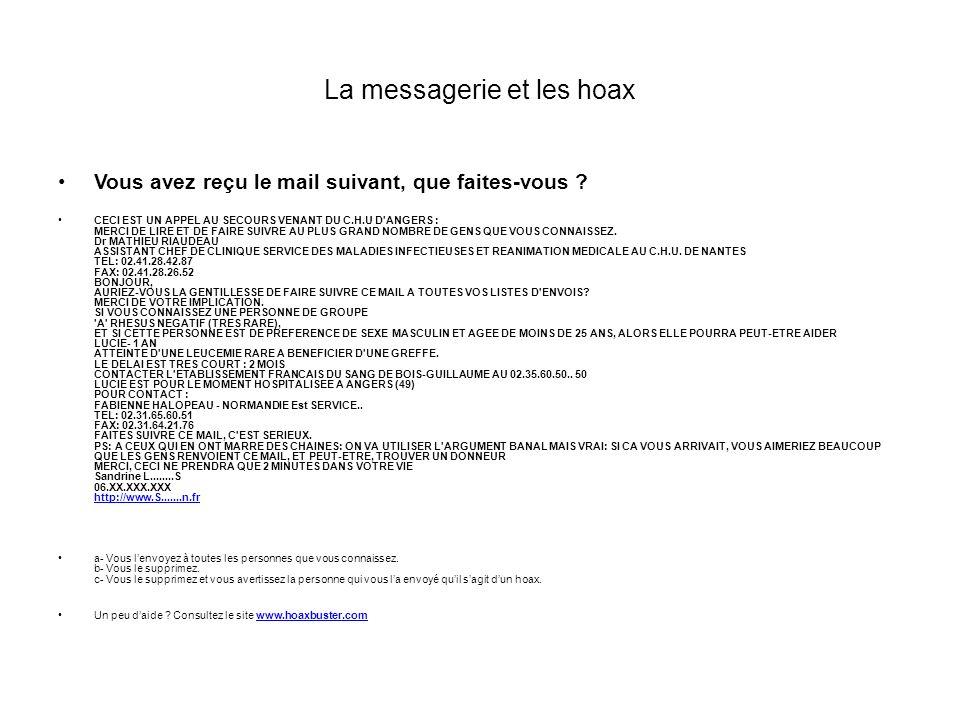 La messagerie et les hoax Vous avez reçu le mail suivant, que faites-vous .