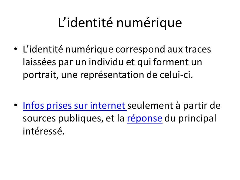Lidentité numérique Lidentité numérique correspond aux traces laissées par un individu et qui forment un portrait, une représentation de celui-ci. Inf