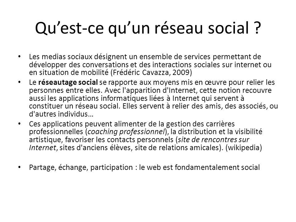 Quest-ce quun réseau social ? Les medias sociaux désignent un ensemble de services permettant de développer des conversations et des interactions soci