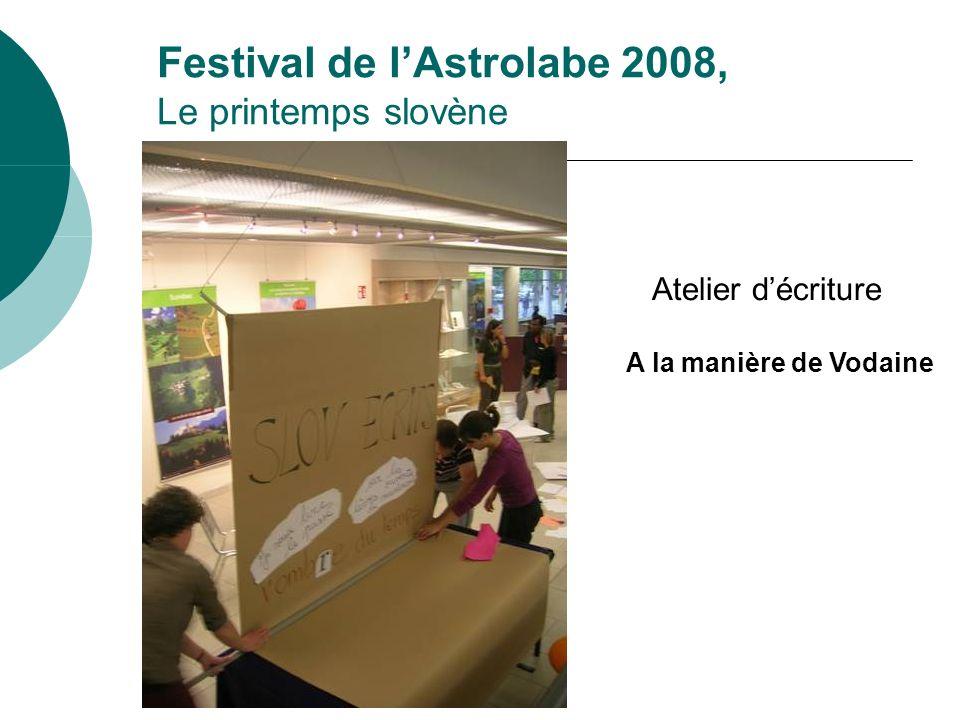 Festival de lAstrolabe 2008, Le printemps slovène Atelier décriture A la manière de Vodaine