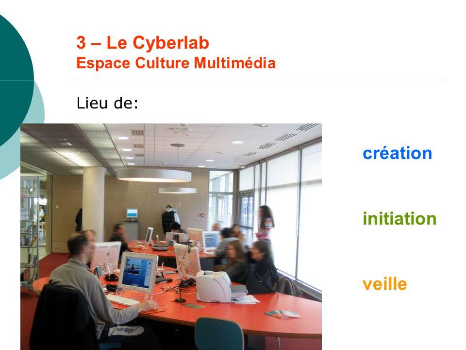 3 – Le Cyberlab Espace Culture Multimédia Lieu de: création initiation veille