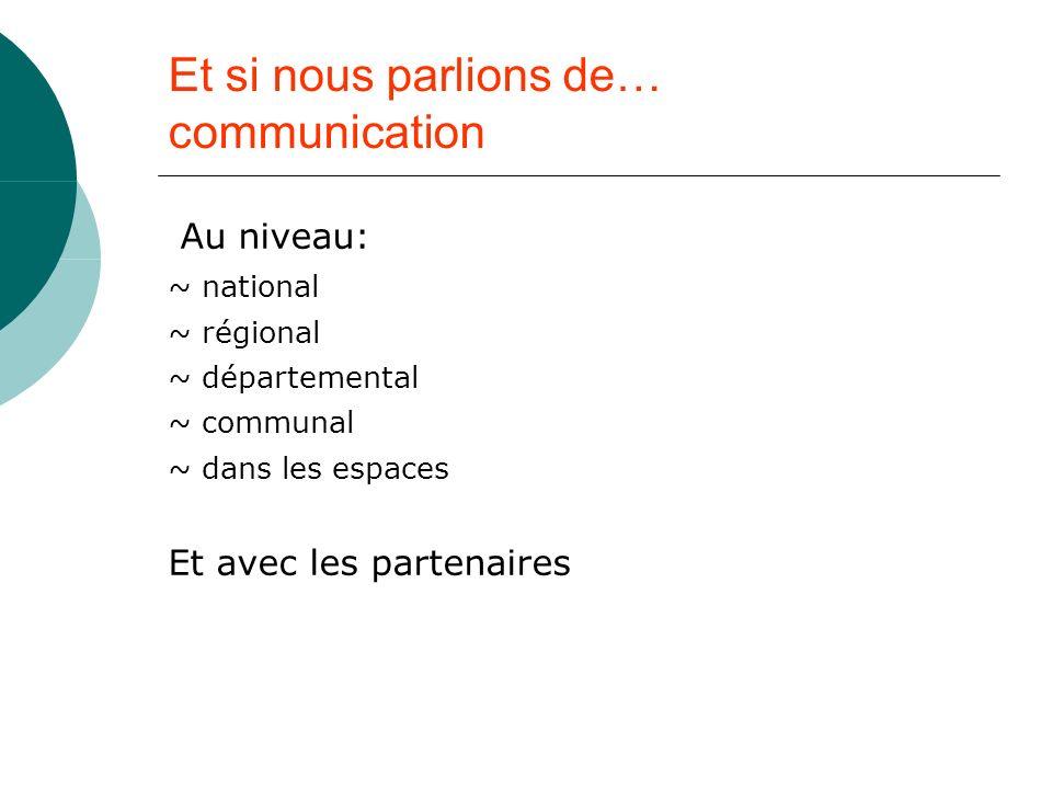 Et si nous parlions de… communication Au niveau: ~ national ~ régional ~ départemental ~ communal ~ dans les espaces Et avec les partenaires