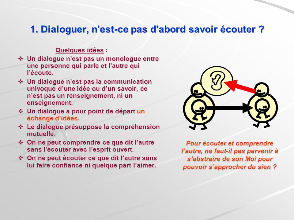 Quelques idées : Un dialogue nest pas un monologue entre une personne qui parle et lautre qui lécoute. Un dialogue nest pas un monologue entre une per