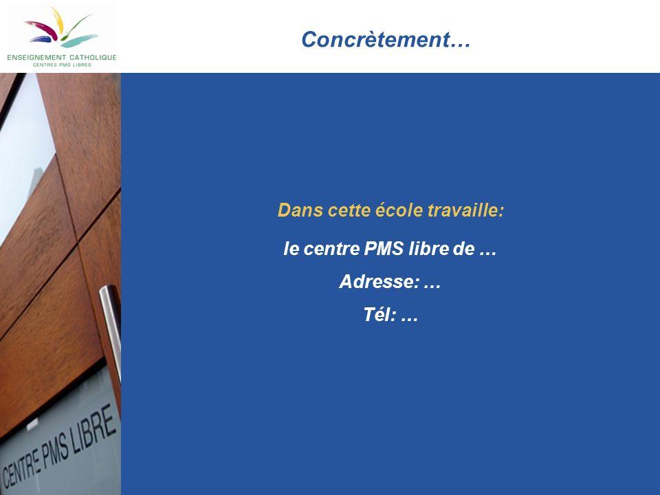 Concrètement… Dans cette école travaille: le centre PMS libre de … Adresse: … Tél: …