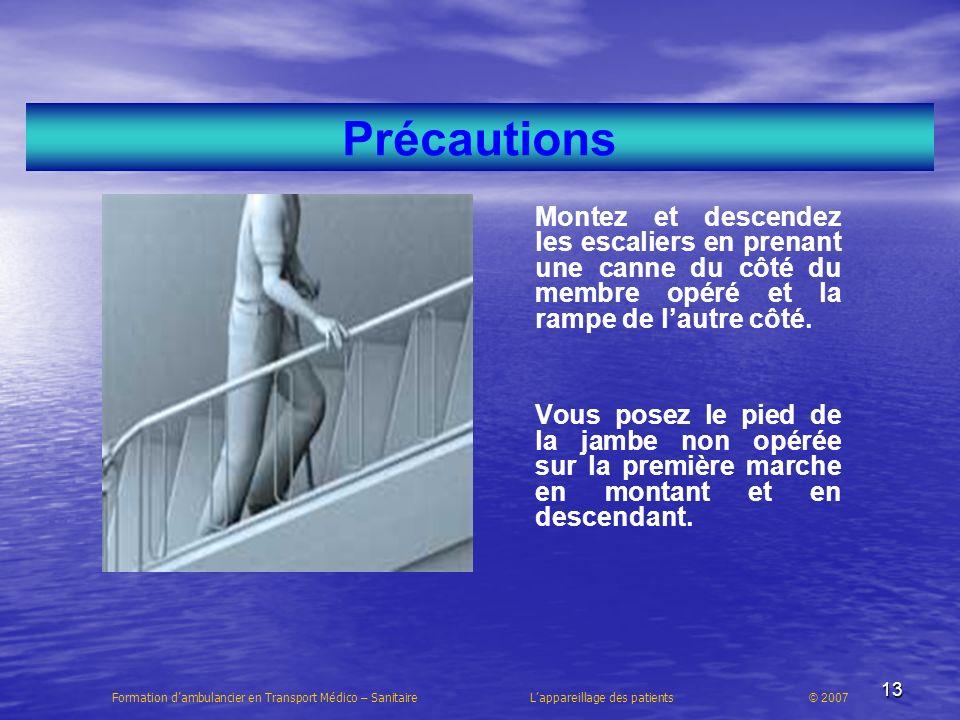 13 Précautions Montez et descendez les escaliers en prenant une canne du côté du membre opéré et la rampe de lautre côté. Vous posez le pied de la jam
