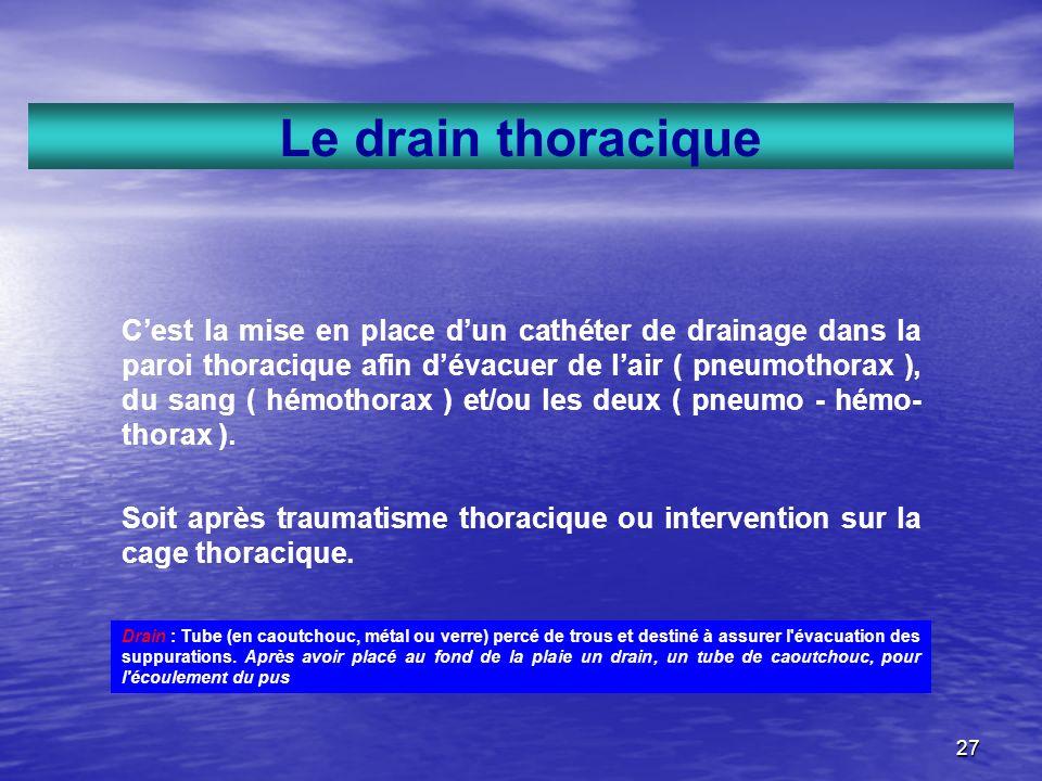 27 Le drain thoracique Cest la mise en place dun cathéter de drainage dans la paroi thoracique afin dévacuer de lair ( pneumothorax ), du sang ( hémot