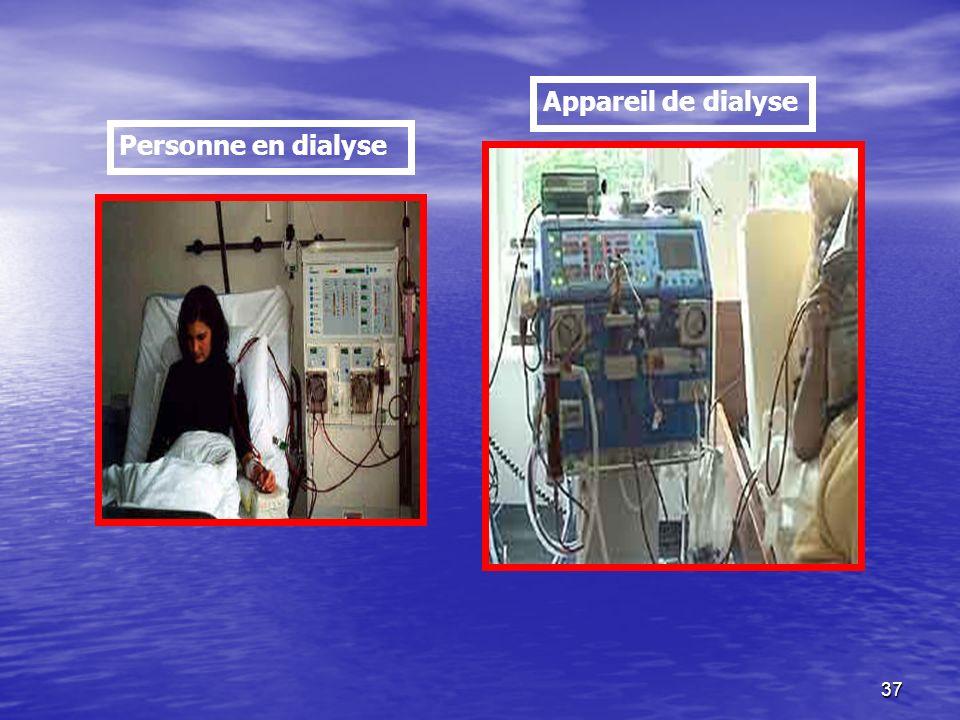 37 Personne en dialyse Appareil de dialyse