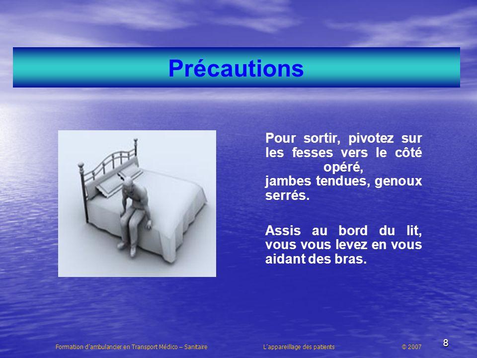 19 Les arthrodèses et implants Formation dambulancier en Transport Médico – Sanitaire Lappareillage des patients © 2007