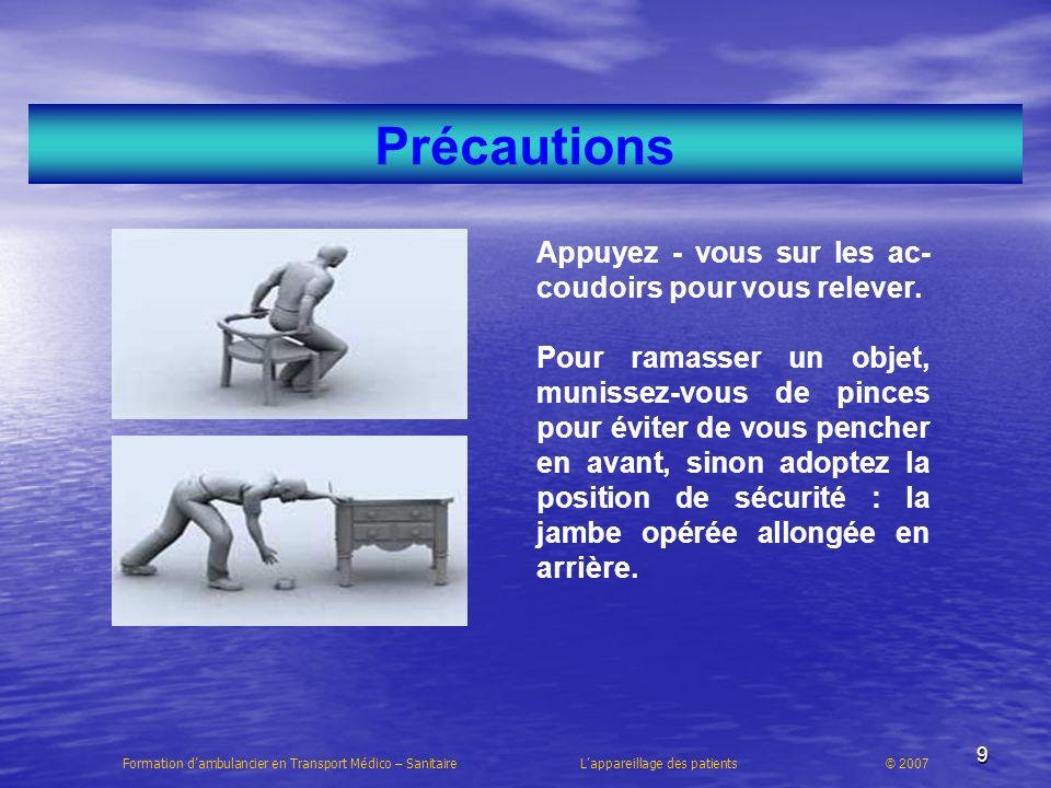 20 Formation dambulancier en Transport Médico – Sanitaire Lappareillage des patients © 2007