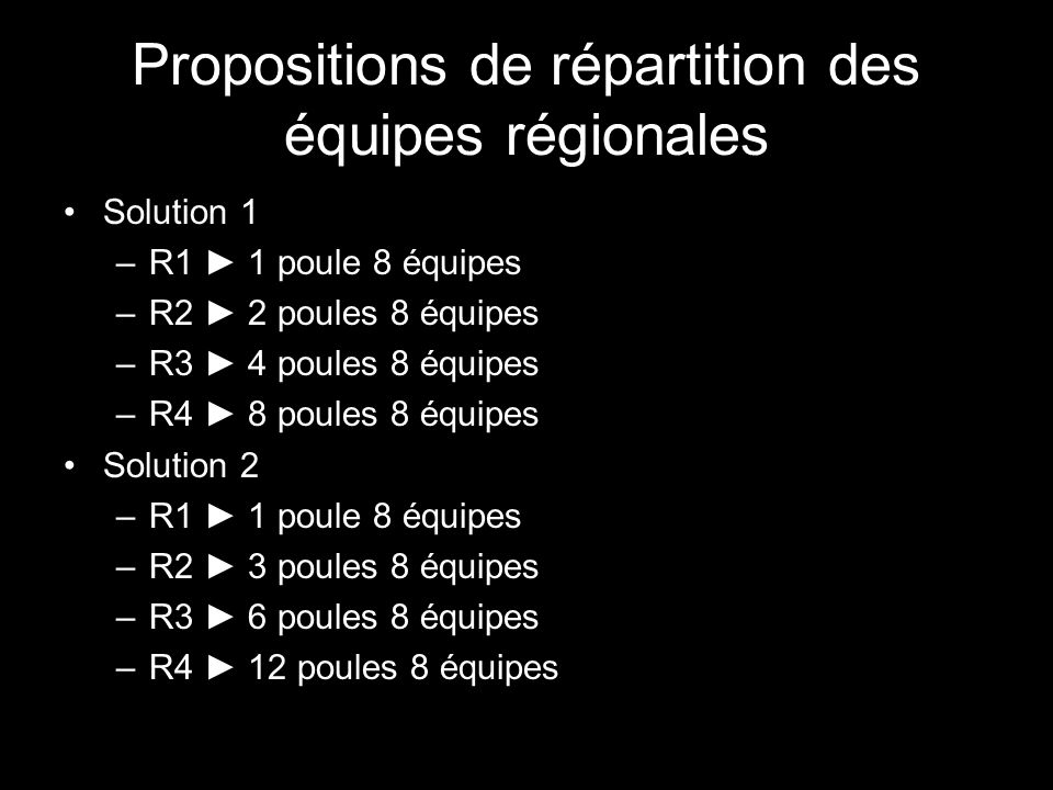 Solution 3 –R1 1 poule 8 équipes –R2 2 poules 10 équipes –R3 4 poules 10 équipes –R4 8 poules 10 équipes Solution 4 –R1 1 poule 8 équipes –R2 2 poules 8 équipes –R3 4 poules 8 équipes –R4 12 poules 8 équipes Propositions de répartition des équipes régionales