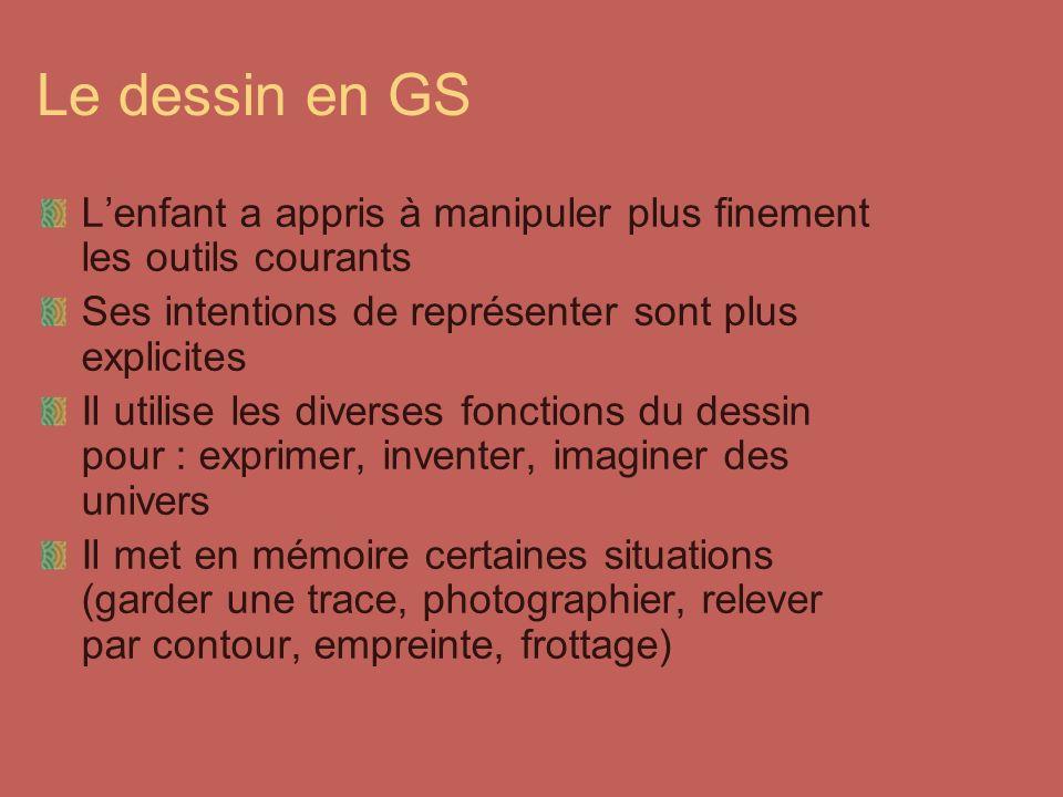 Le dessin en GS Lenfant a appris à manipuler plus finement les outils courants Ses intentions de représenter sont plus explicites Il utilise les diver