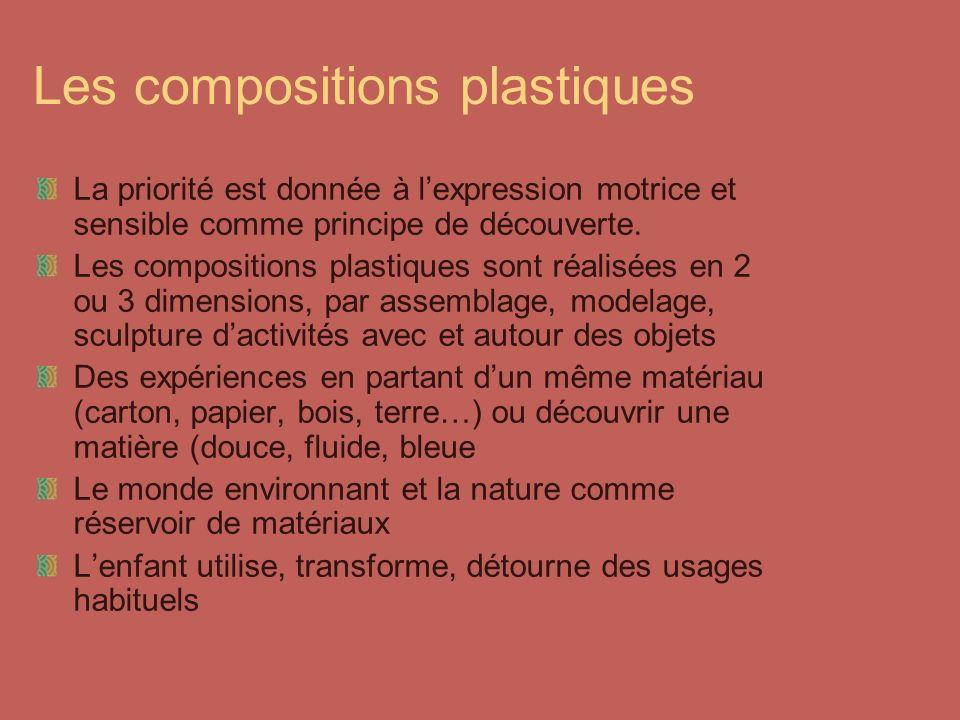 Les compositions plastiques La priorité est donnée à lexpression motrice et sensible comme principe de découverte. Les compositions plastiques sont ré