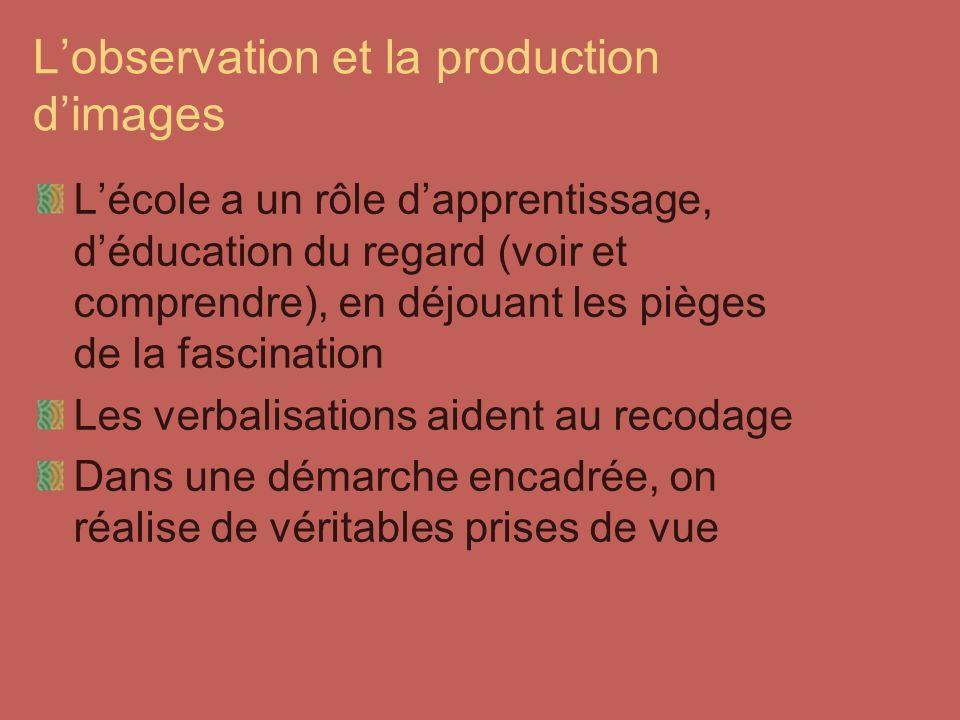 Lobservation et la production dimages Lécole a un rôle dapprentissage, déducation du regard (voir et comprendre), en déjouant les pièges de la fascina