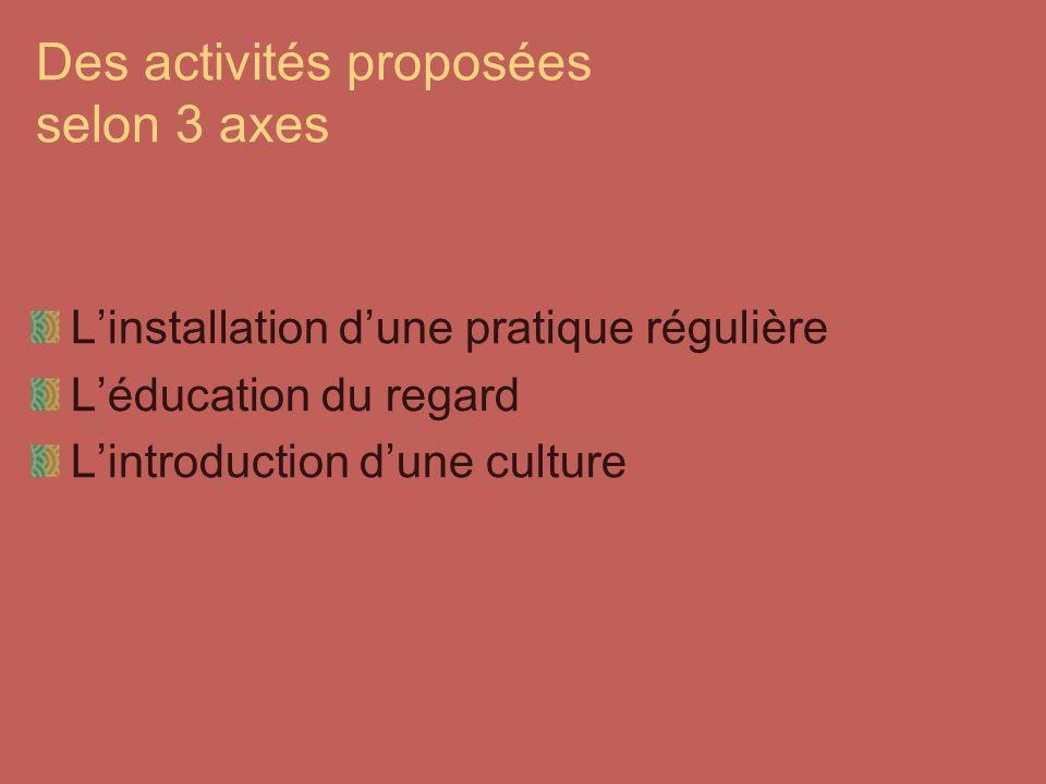 Des activités proposées selon 3 axes Linstallation dune pratique régulière Léducation du regard Lintroduction dune culture