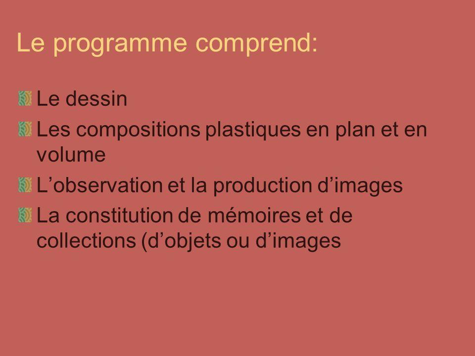 Le programme comprend: Le dessin Les compositions plastiques en plan et en volume Lobservation et la production dimages La constitution de mémoires et