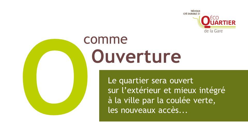 comme Ouverture O Le quartier sera ouvert sur lextérieur et mieux intégré à la ville par la coulée verte, les nouveaux accès...