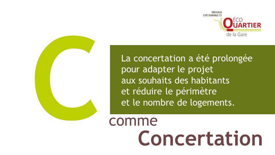 comme Concertation C La concertation a été prolongée pour adapter le projet aux souhaits des habitants et réduire le périmètre et le nombre de logemen