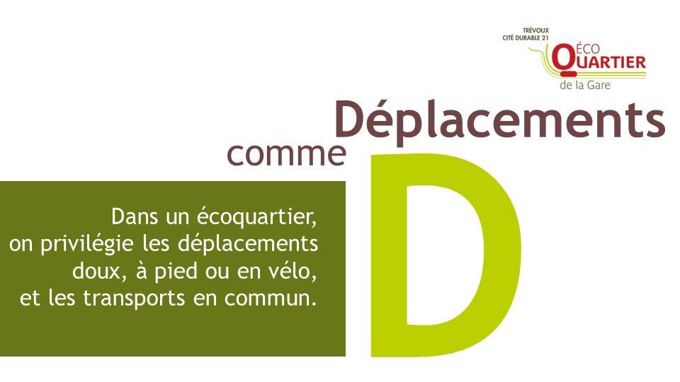 D Dans un écoquartier, on privilégie les déplacements doux, à pied ou en vélo, et les transports en commun. comme Déplacements
