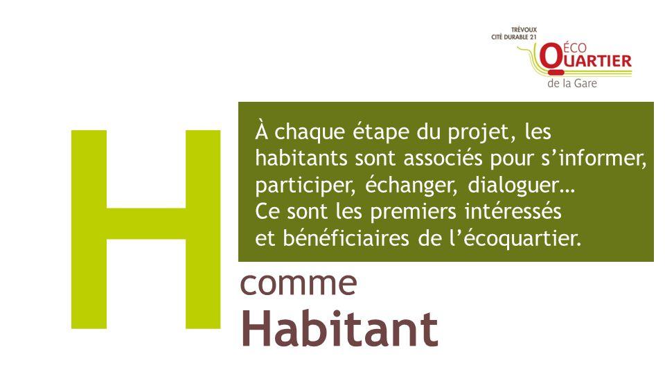 comme Habitant H À chaque étape du projet, les habitants sont associés pour sinformer, participer, échanger, dialoguer… Ce sont les premiers intéressé
