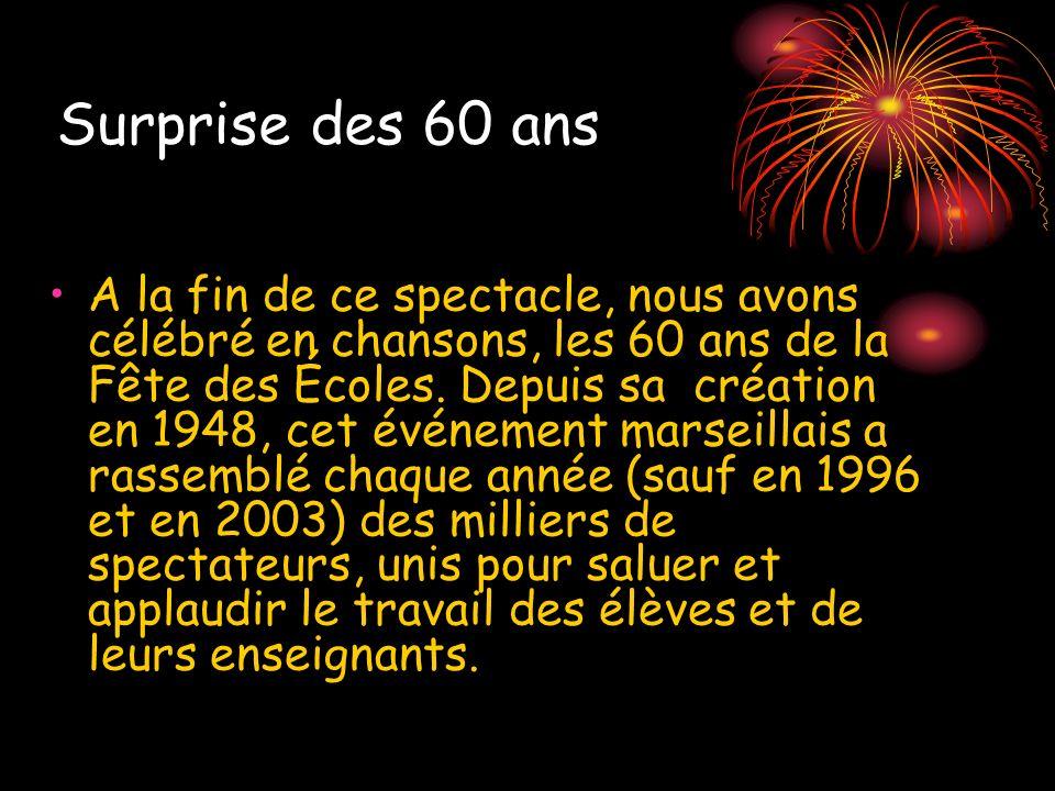 Surprise des 60 ans A la fin de ce spectacle, nous avons célébré en chansons, les 60 ans de la Fête des Écoles. Depuis sa création en 1948, cet événem