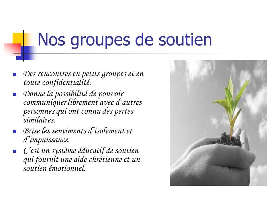 Nos groupes de soutien Des rencontres en petits groupes et en toute confidentialité. Donne la possibilité de pouvoir communiquer librement avec dautre