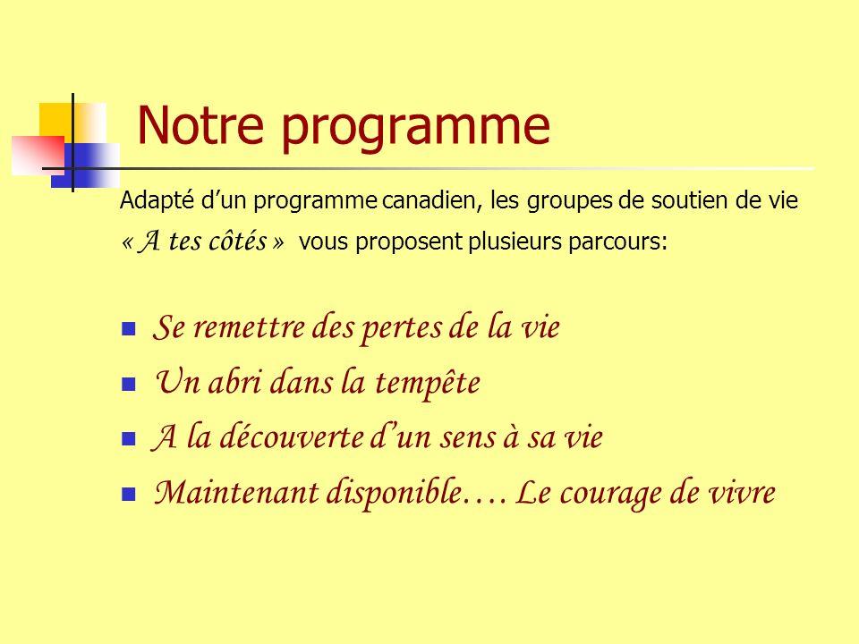Notre programme Adapté dun programme canadien, les groupes de soutien de vie « A tes côtés » vous proposent plusieurs parcours: Se remettre des pertes