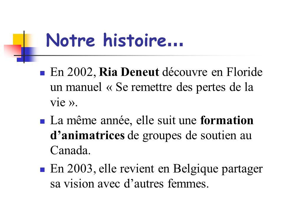 Notre histoire … En 2002, Ria Deneut découvre en Floride un manuel « Se remettre des pertes de la vie ». La même année, elle suit une formation danima