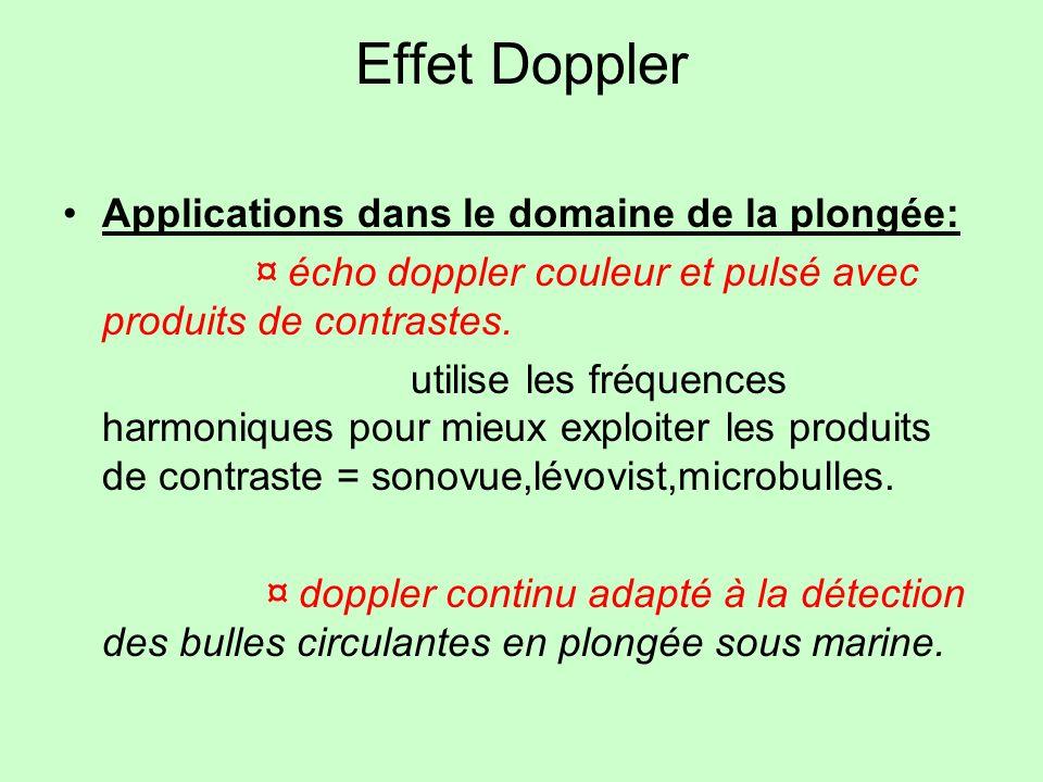 Effet Doppler Applications dans le domaine de la plongée: ¤ écho doppler couleur et pulsé avec produits de contrastes. utilise les fréquences harmoniq