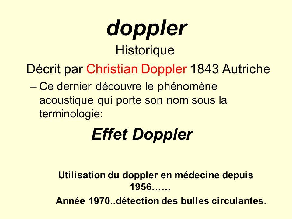 doppler Historique Décrit par Christian Doppler 1843 Autriche –Ce dernier découvre le phénomène acoustique qui porte son nom sous la terminologie: Eff