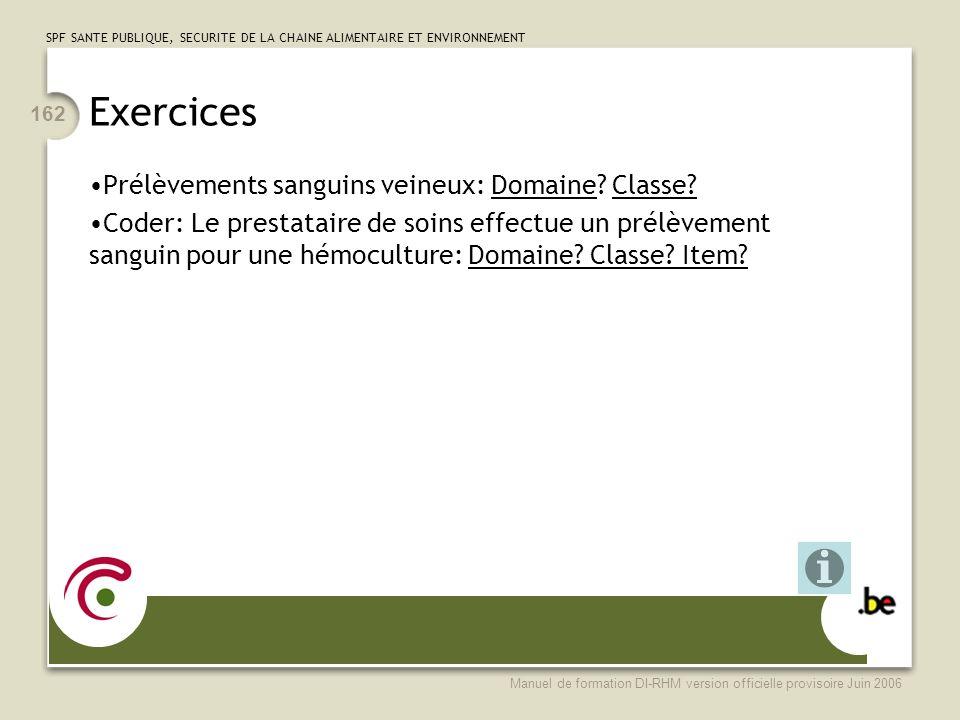 SPF SANTE PUBLIQUE, SECURITE DE LA CHAINE ALIMENTAIRE ET ENVIRONNEMENT Manuel de formation DI-RHM version officielle provisoire Juin 2006 162 Exercices Prélèvements sanguins veineux: Domaine.