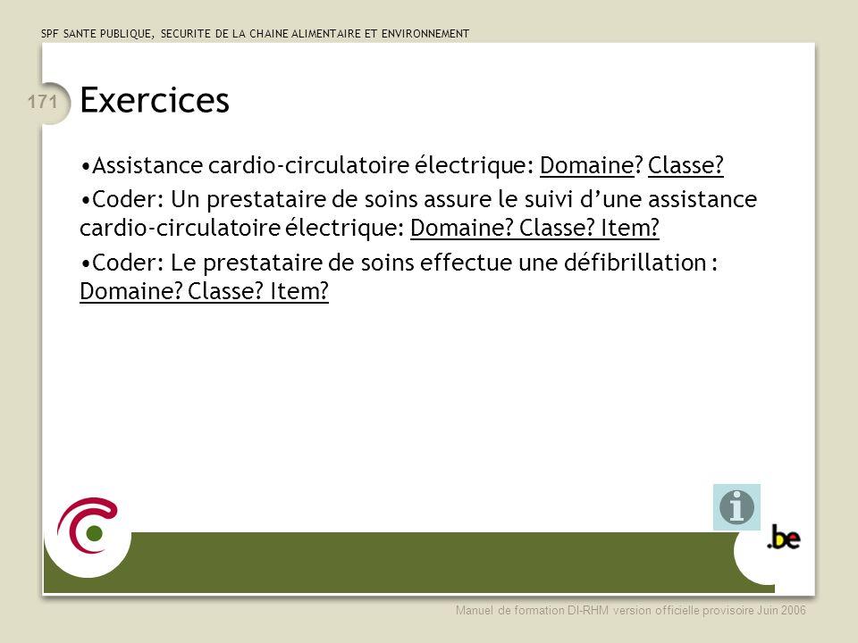 SPF SANTE PUBLIQUE, SECURITE DE LA CHAINE ALIMENTAIRE ET ENVIRONNEMENT Manuel de formation DI-RHM version officielle provisoire Juin 2006 171 Exercices Assistance cardio-circulatoire électrique: Domaine.