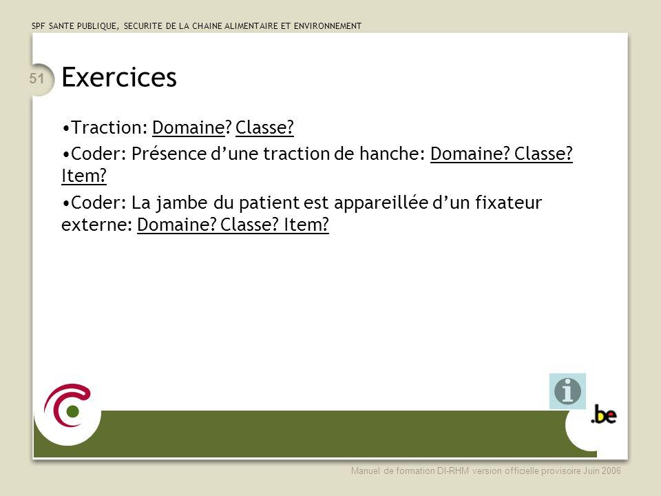 SPF SANTE PUBLIQUE, SECURITE DE LA CHAINE ALIMENTAIRE ET ENVIRONNEMENT Manuel de formation DI-RHM version officielle provisoire Juin 2006 51 Exercices Traction: Domaine.