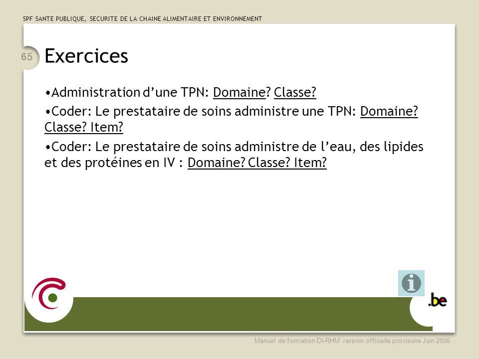SPF SANTE PUBLIQUE, SECURITE DE LA CHAINE ALIMENTAIRE ET ENVIRONNEMENT Manuel de formation DI-RHM version officielle provisoire Juin 2006 65 Exercices Administration dune TPN: Domaine.