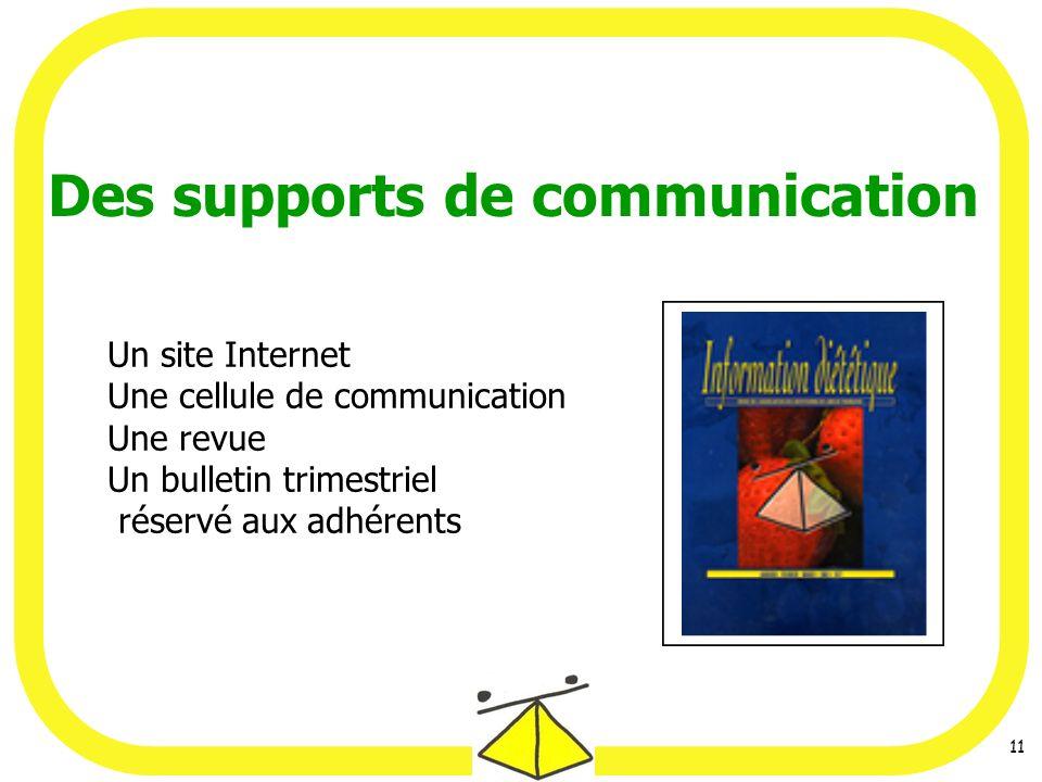 11 Des supports de communication Un site Internet Une cellule de communication Une revue Un bulletin trimestriel réservé aux adhérents