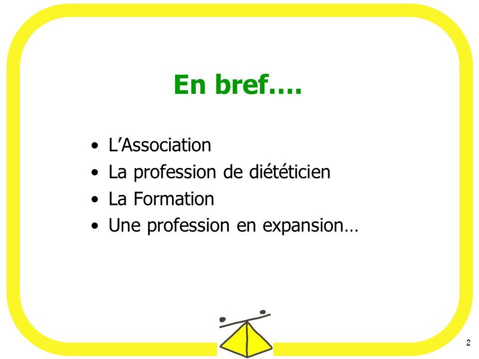 2 En bref…. LAssociation La profession de diététicien La Formation Une profession en expansion…
