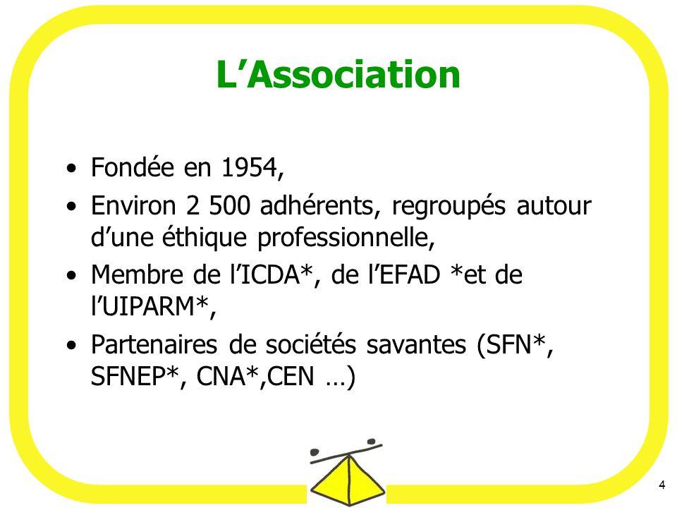 4 LAssociation Fondée en 1954, Environ 2 500 adhérents, regroupés autour dune éthique professionnelle, Membre de lICDA*, de lEFAD *et de lUIPARM*, Partenaires de sociétés savantes (SFN*, SFNEP*, CNA*,CEN …)