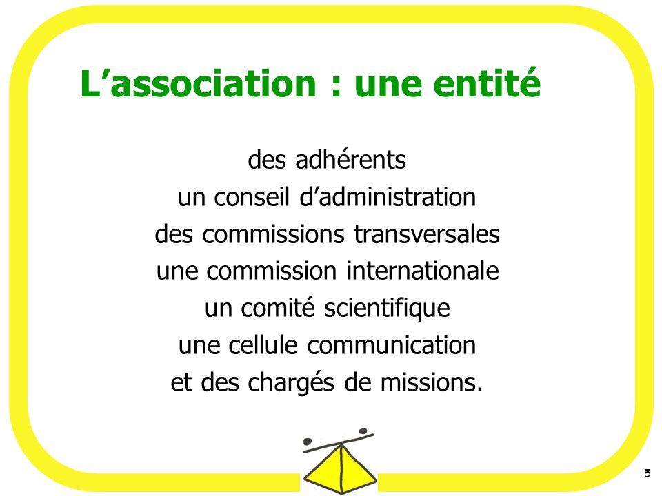 5 des adhérents un conseil dadministration des commissions transversales une commission internationale un comité scientifique une cellule communication et des chargés de missions.