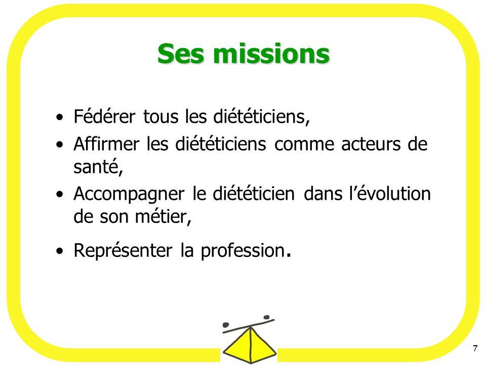 7 Ses missions Fédérer tous les diététiciens, Affirmer les diététiciens comme acteurs de santé, Accompagner le diététicien dans lévolution de son métier, Représenter la profession.
