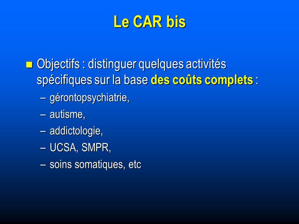Le CAR bis Objectifs : distinguer quelques activités spécifiques sur la base des coûts complets : Objectifs : distinguer quelques activités spécifiques sur la base des coûts complets : –gérontopsychiatrie, –autisme, –addictologie, –UCSA, SMPR, –soins somatiques, etc