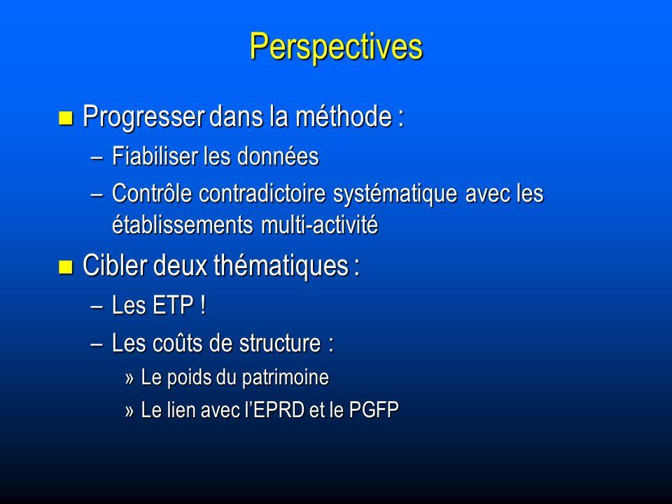 Perspectives Progresser dans la méthode : Progresser dans la méthode : –Fiabiliser les données –Contrôle contradictoire systématique avec les établissements multi-activité Cibler deux thématiques : Cibler deux thématiques : –Les ETP .