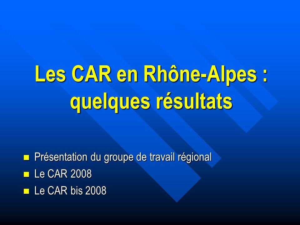 Les CAR en Rhône-Alpes : quelques résultats Présentation du groupe de travail régional Présentation du groupe de travail régional Le CAR 2008 Le CAR 2008 Le CAR bis 2008 Le CAR bis 2008