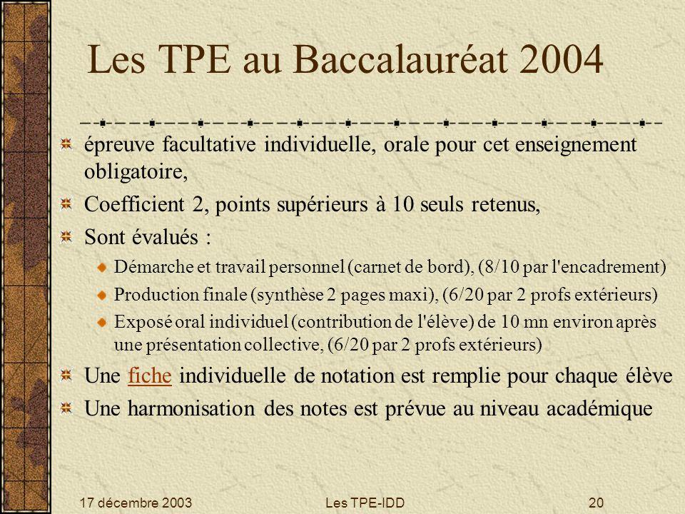 17 décembre 2003Les TPE-IDD20 Les TPE au Baccalauréat 2004 épreuve facultative individuelle, orale pour cet enseignement obligatoire, Coefficient 2, p